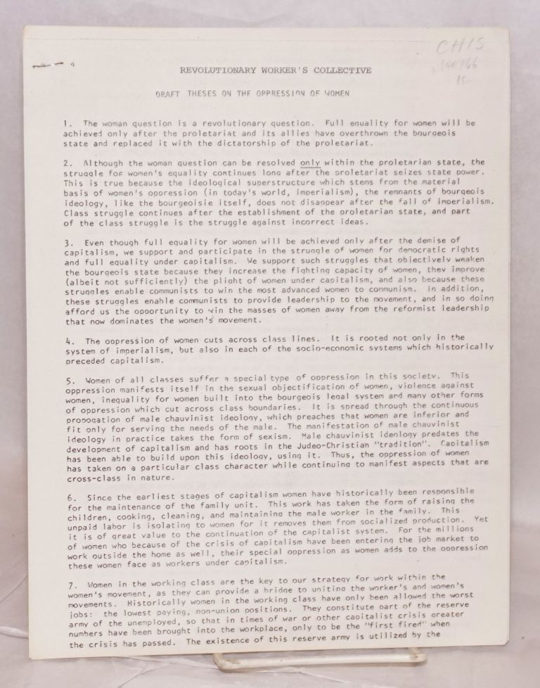 Draft theses on the oppression of women. Revolutionary Workers Collective.