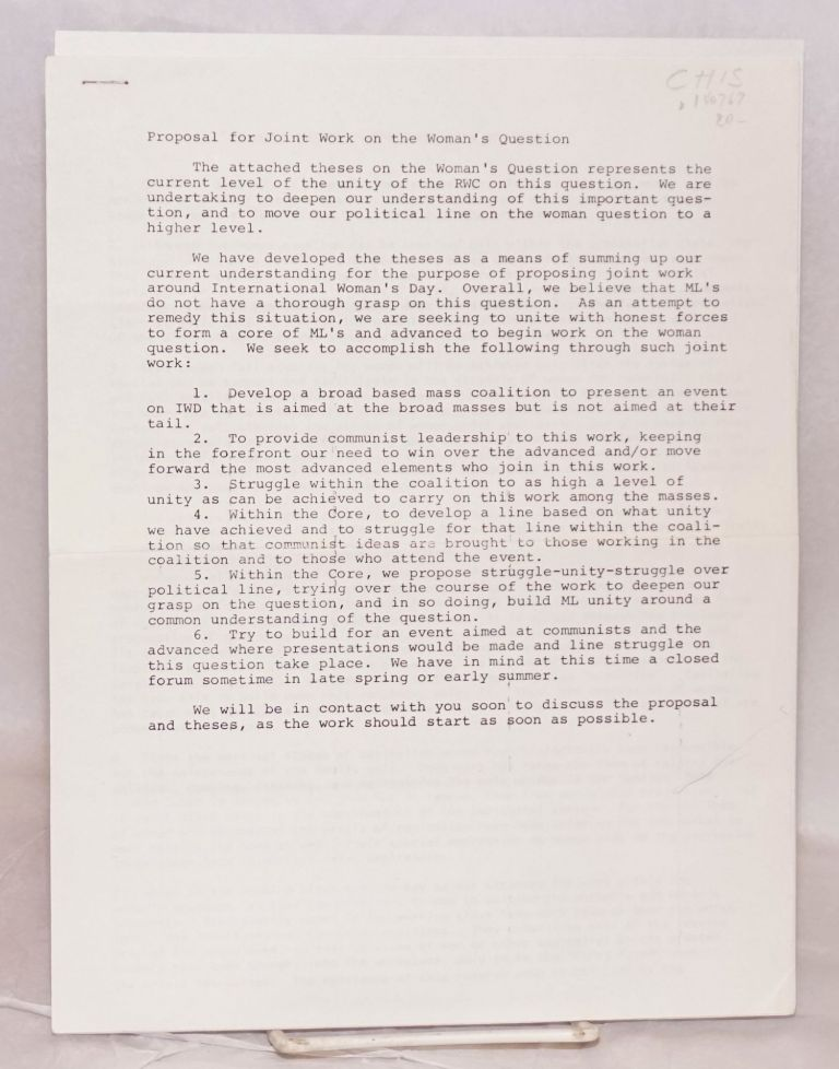 Draft theses on the oppression of women. [with] Proposal for joint work on the woman's question. Revolutionary Workers Collective.