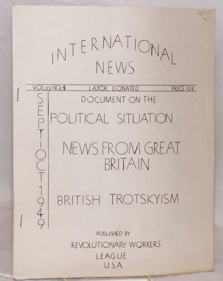 International News. Vol. XI no. 4 (Sept.-Oct. 1949). Revolutionary Workers League.