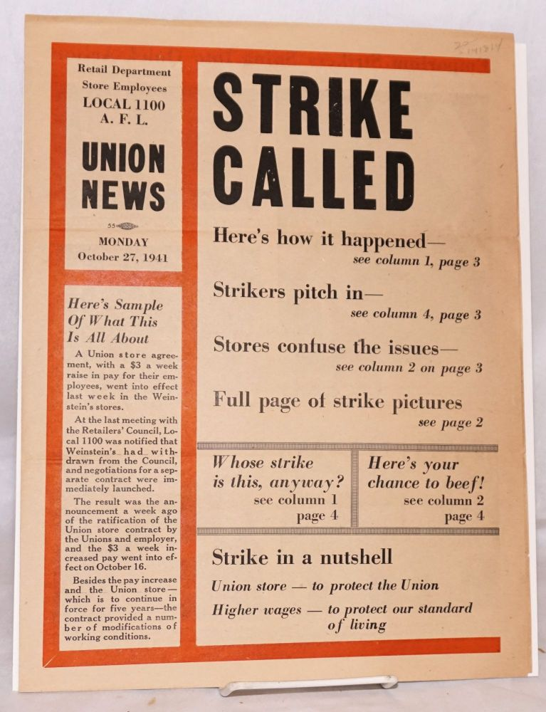 Strike called. Local 1100 Department Store Employees Union, AFL.