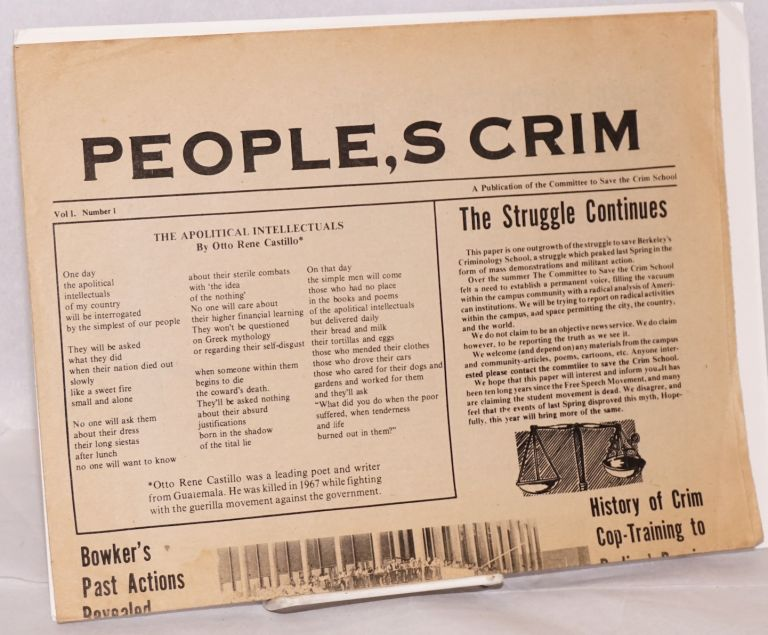 People's Crim. Vol. 1, no. 1. Committee to Save the Crim School.