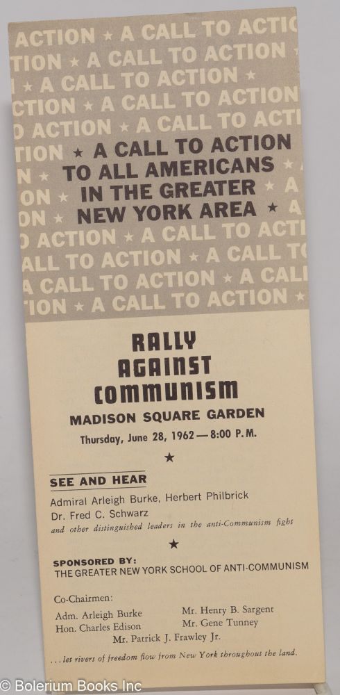 A call to action to all Americans in the Greater New York area: Rally against Communism, Madison...