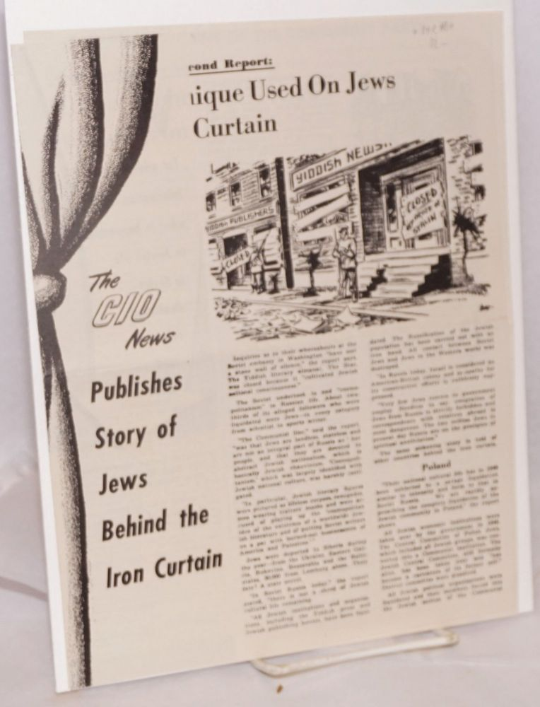 The CIO News publishes story of Jews behind the Iron Curtain. Jewish Labor Committee.