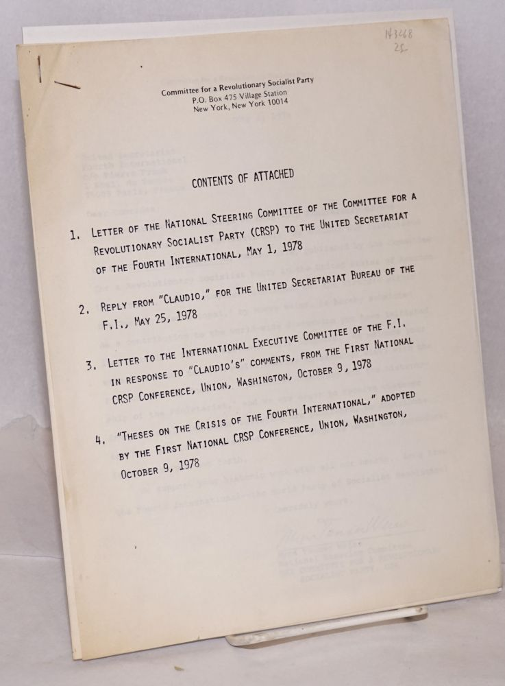 [Packet of four documents]. Committee for a. Revolutionary Socialist Party.