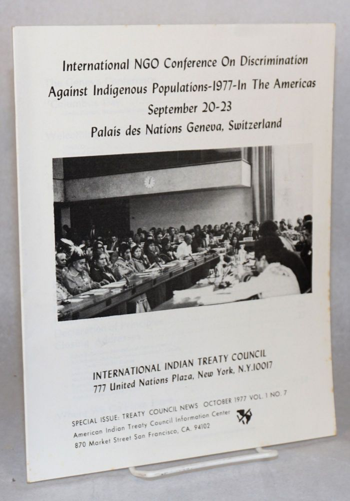 International NGO Conference on Discrimination against Indigenous Populations in the Americas, September 20-23, 1977, Palais des Nations, Geneva, Switzerland
