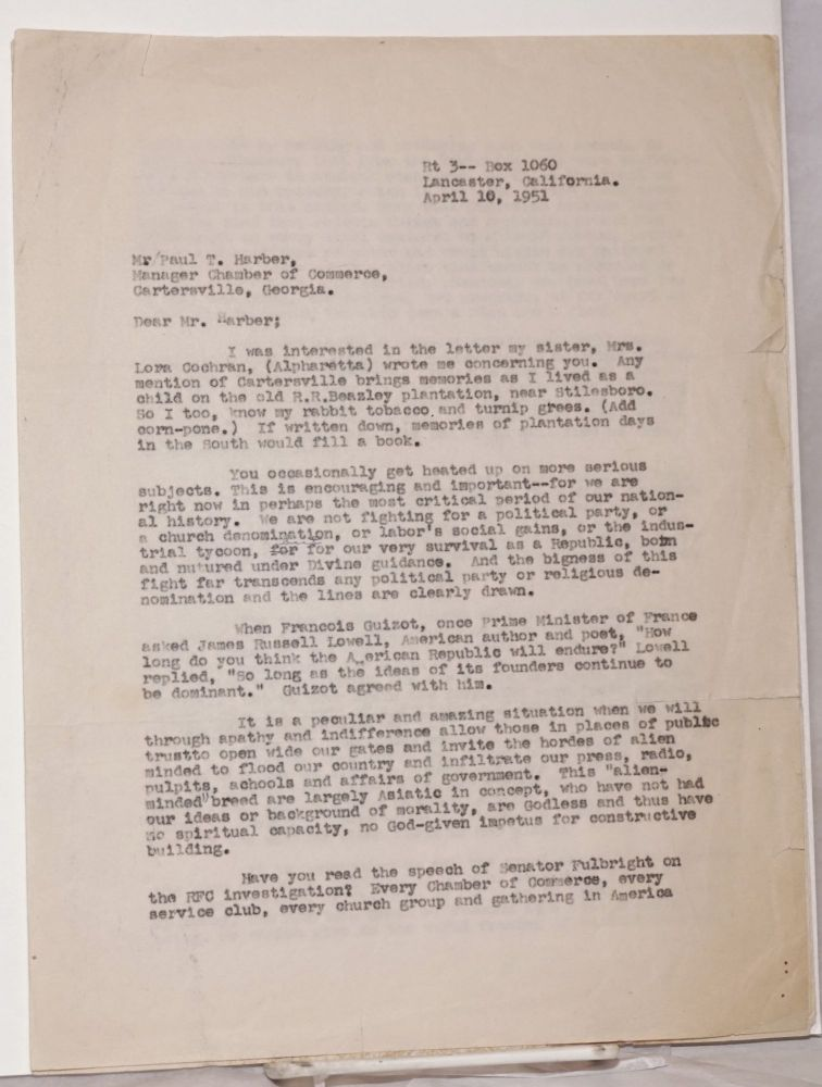 [Carbon copy of three-page typed letter to Paul T. Harber, of the Cartersville, Georgia Chamber of Commerce]. Adelyu S. Parsons.