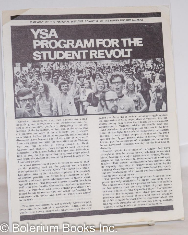 YSA program for the student revolt. National Executive Committee Young Socialist Alliance.
