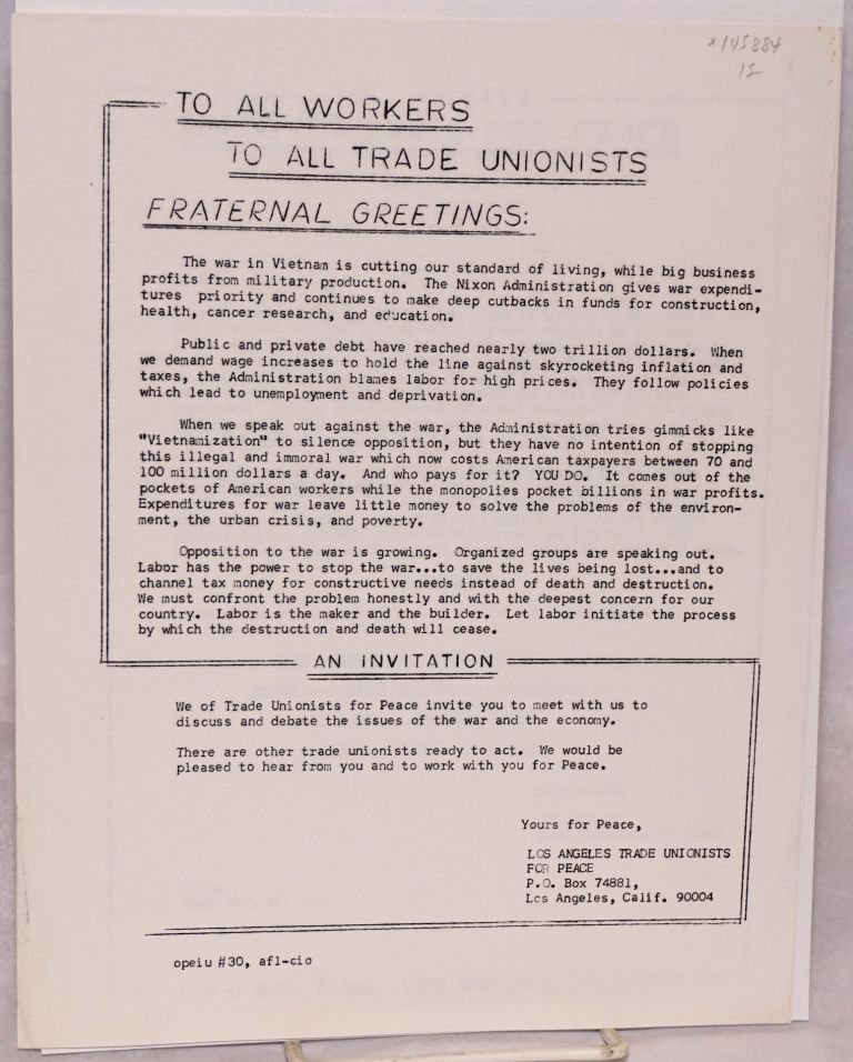 To all workers, to all trade unionists: fraternal greetings [handbill]. Los Angeles Trade Unionists for Peace.