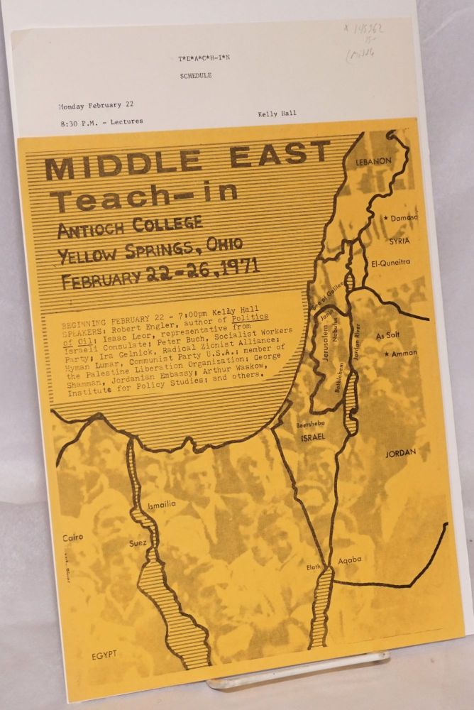 Middle East Teach-In. Antioch College... February 22-26, 1971 [mini-poster and program]