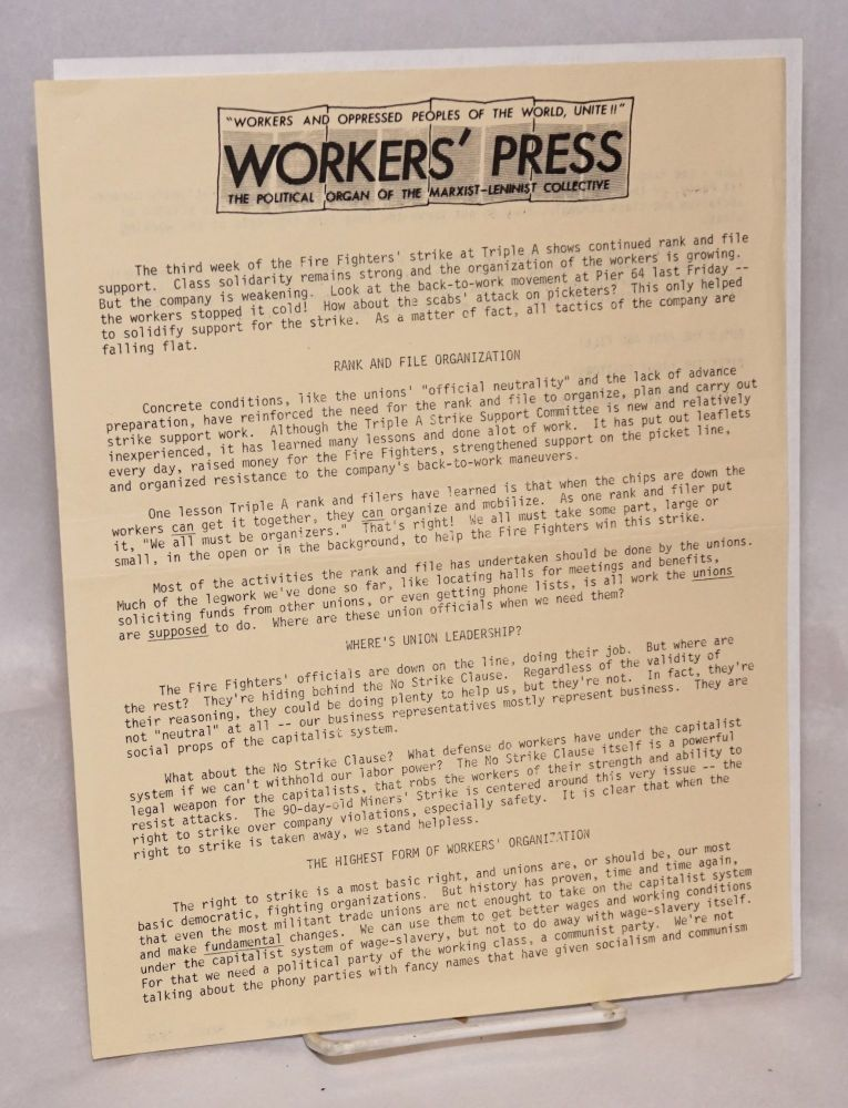 Workers' Press. The political organ of the Marxist-Leninist Collective. Marxist-Leninist Collective.
