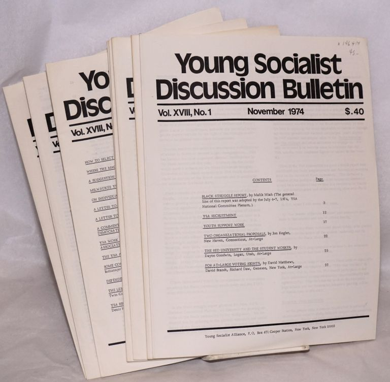 Young Socialist Discussion Bulletin, Volume 18, No. 1-8. Young Socialist Alliance.