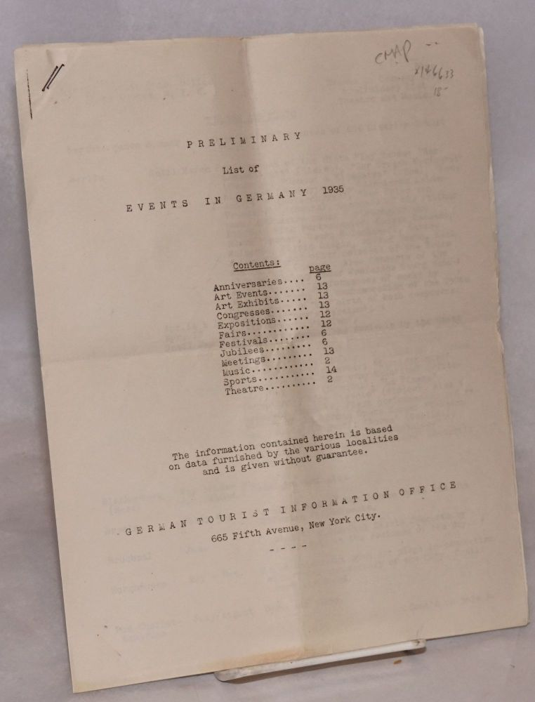 Preliminary list of events in Germany, 1935. German Tourist Information Office.