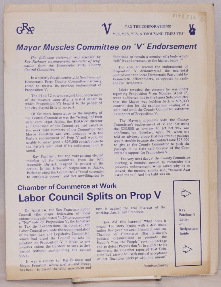 [Two brochures for the San Francisco ballot measure Proposition V]. Committee to Tax the Corporations.