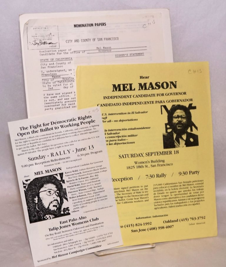 [Group of four items from 1982 gubernatorial campaign]. Mel Mason.