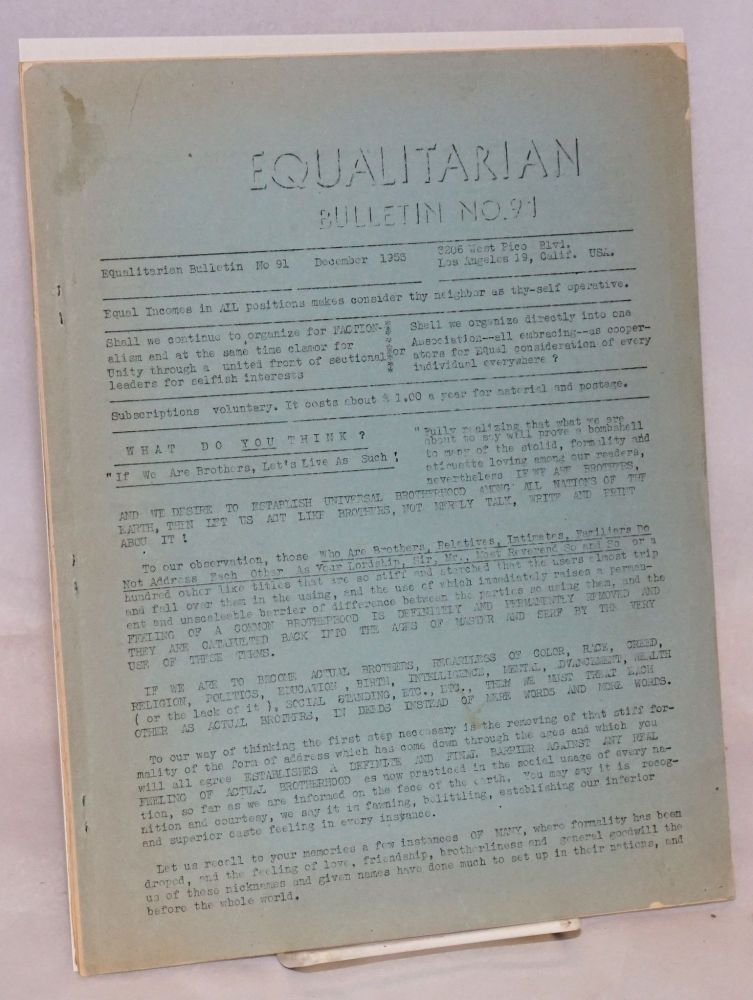 Equalitarian bulletin no. 91. December 1953