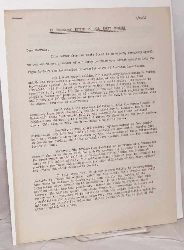 An Emergency letter to all party members; March 15, 1947. William Schneiderman.