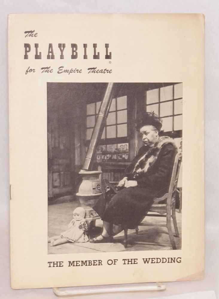 Playbill for The member of the wedding starring Ethel Waters and Julie Harris at the Empire Theatre 1951. Carson McCullers, Julie Harris, Ethel waters.