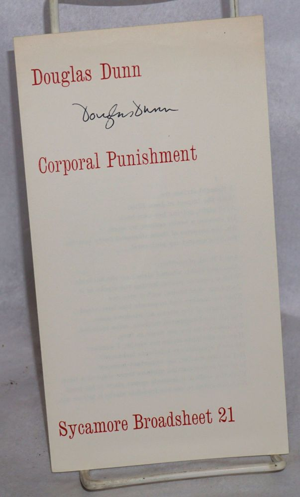 Corporal punishment. Douglas Dunn.