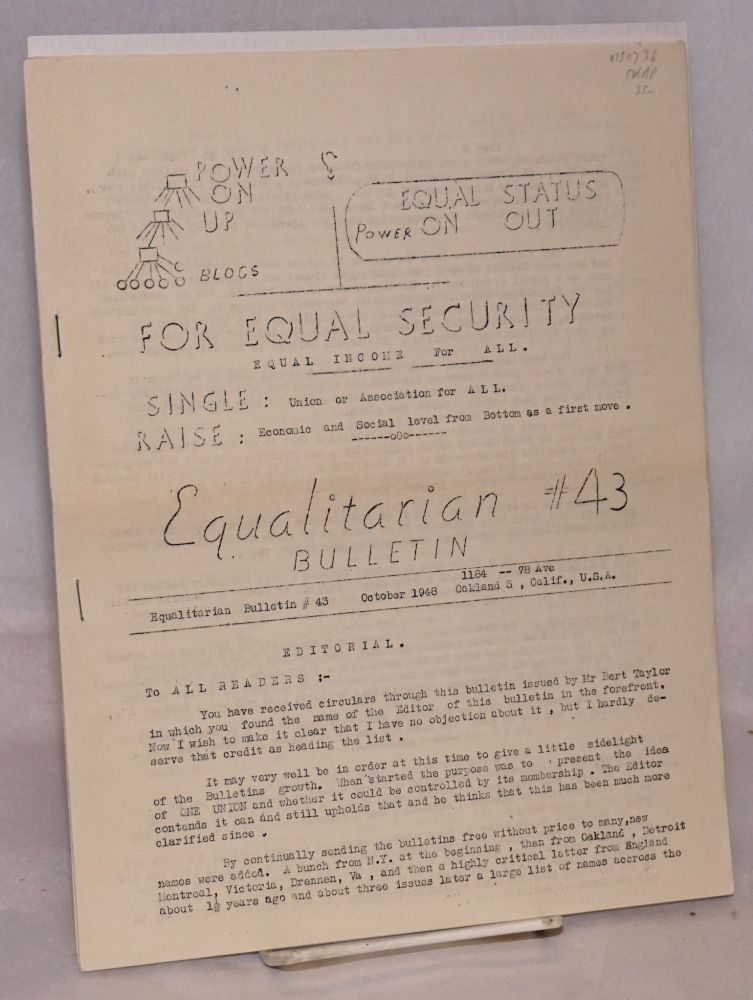 Equalitarian bulletin no. 43. October 1948