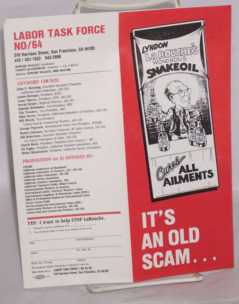 It's an old scam ... and it's on the ballot in California [brochure]. Lyndon LaRouche.