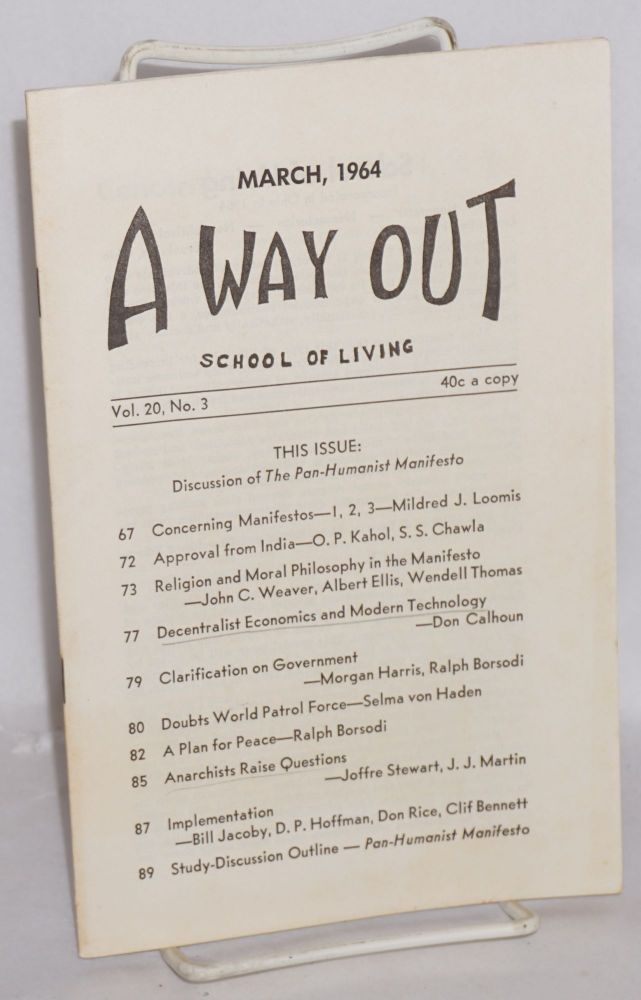 A way out. March 1964, vol. 20, no. 3. School of Living.