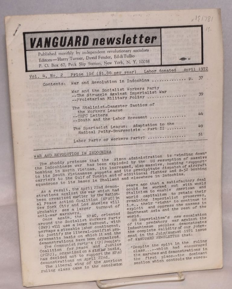 Vanguard newsletter. Vol. 4, no. 2 (April, 1972). Harry Turner, Eddi Tullio, David Fender.