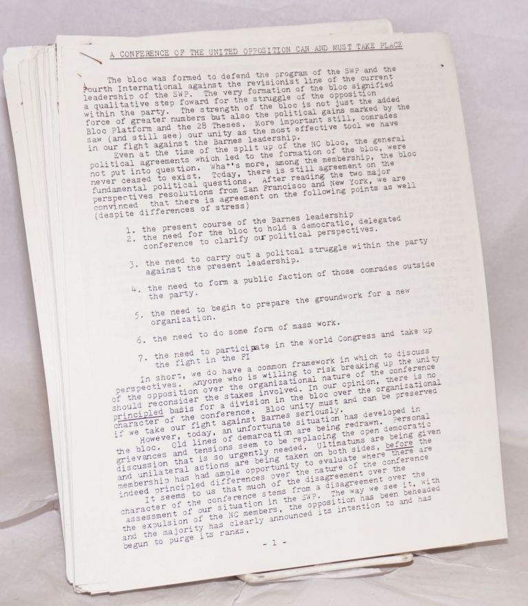 [Group of 31 documents from the 1983-84 internal strife that decimated the SWP and gave rise to new Trotskyist formations, including Socialist Action]. Socialist Workers Party Opposition.