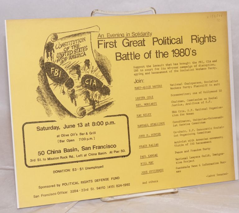 An evening in solidarity: First great political rights battle of the 1980s. Political Rights Defense Fund.