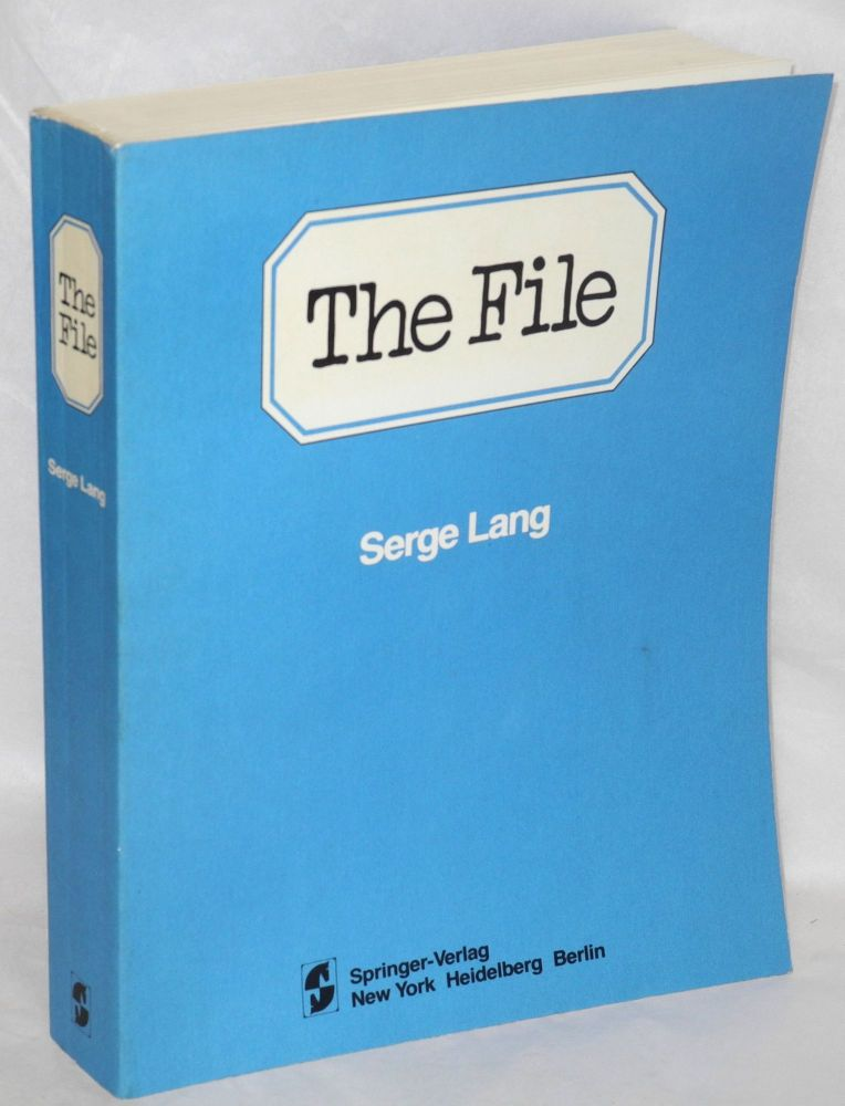 The file; case study in correction (1977 - 1979). Serge Lang.