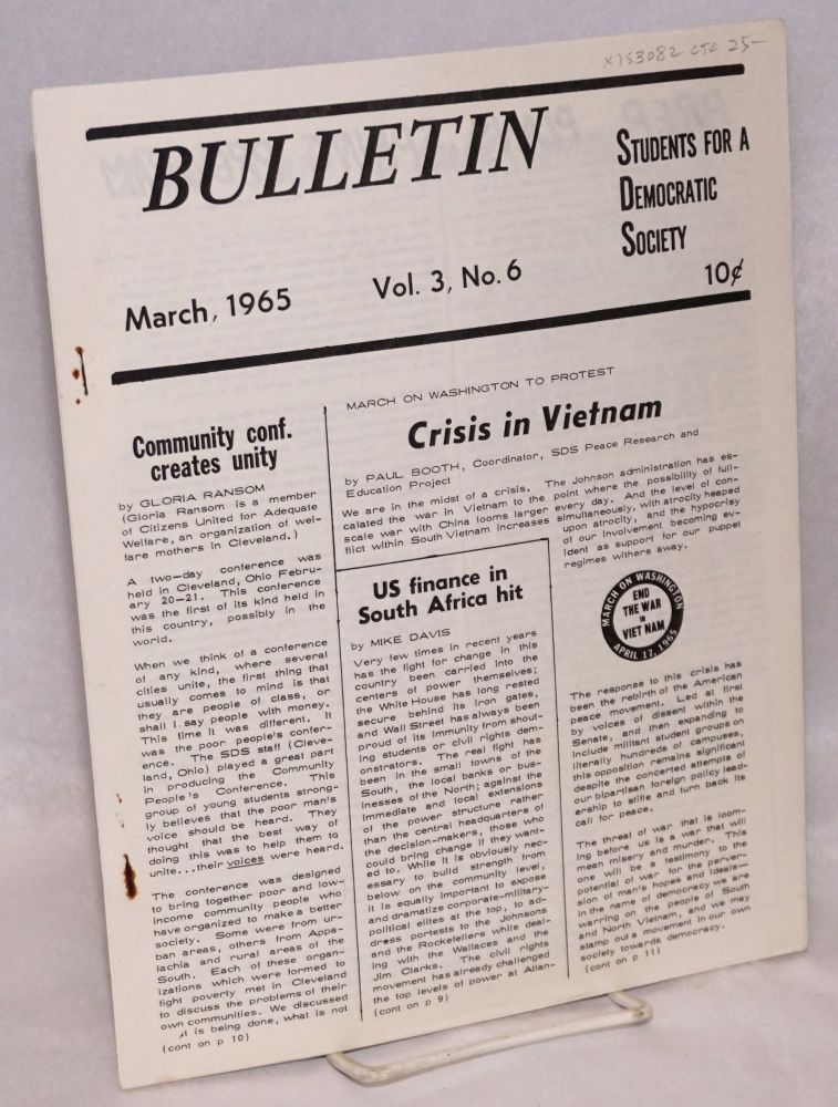 SDS bulletin -- vol. 3, No. 6, March, 1965. Students for a. Democratic Society.