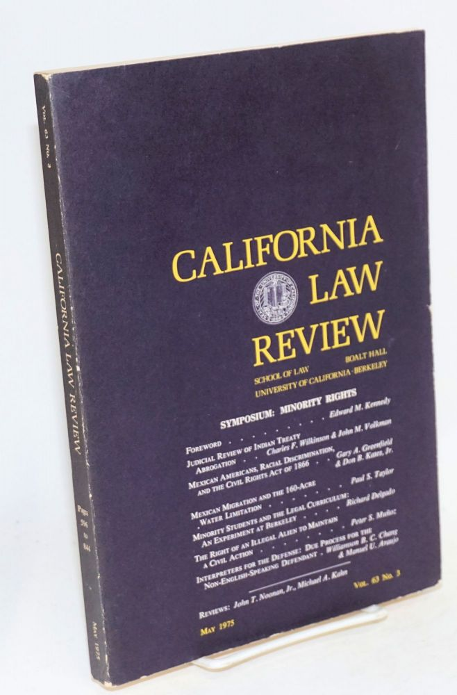 Symposium: minority rights; California Law Review, volume 63, number 3, May 1975