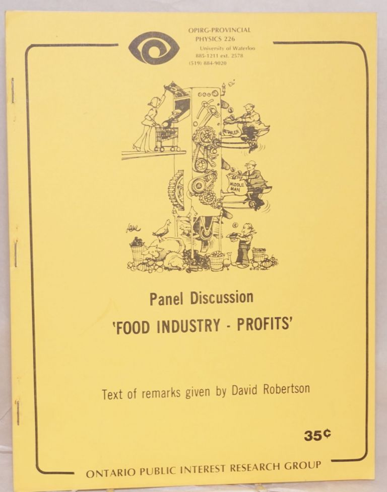 Panel discussion: Food industry - profits. David Robertson.