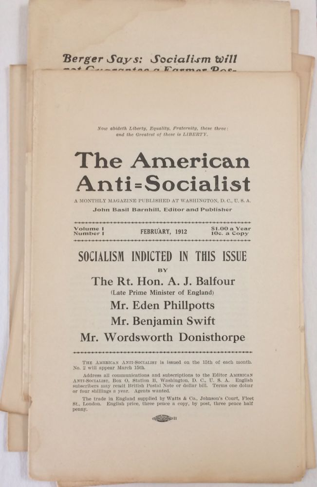 The American anti-socialist. A monthly magazine published at Washington, D.C. John Basil Barnhill, editor and publisher [Nos. 1-6, complete run]