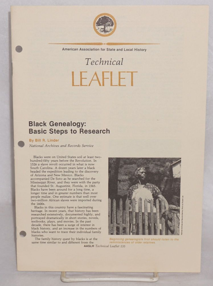 Black genealogy: basic steps to research. Bill R. Linder.
