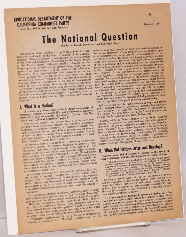 The national question (guide for branch discussion and individual study). Communist Party of California. Educational Department.