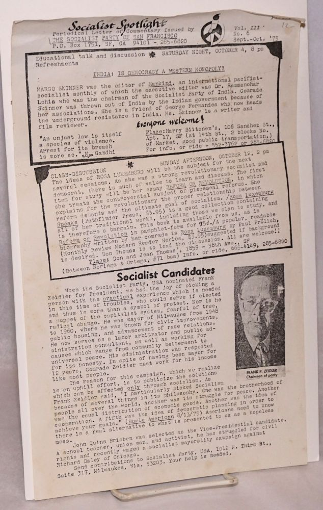 Socialist spotlight: periodical letter of commentary. Vol. III, no. 6 (Sept.-Oct. 1975). Socialist Party of San Francisco.