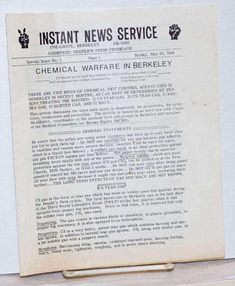 Instant News Service. Special issue no. 1 (May 25, 1969). Chemical warfare in Berkeley