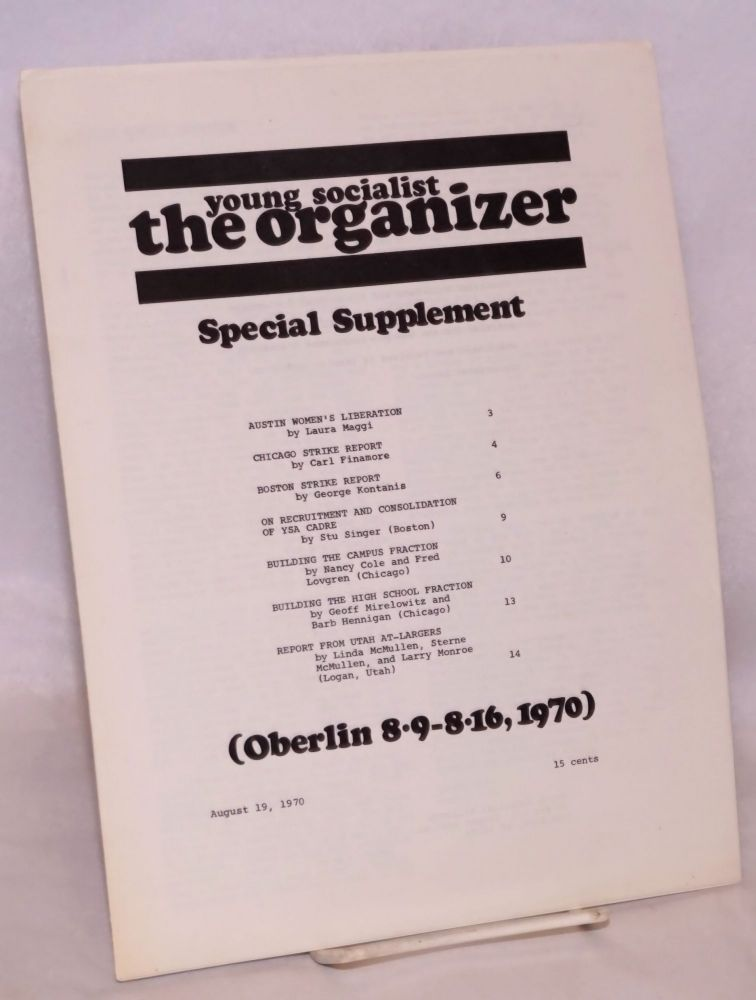 The Organizer. Special supplement. Oberlin 8/9-8/16, 1970. Young Socialist Alliance.