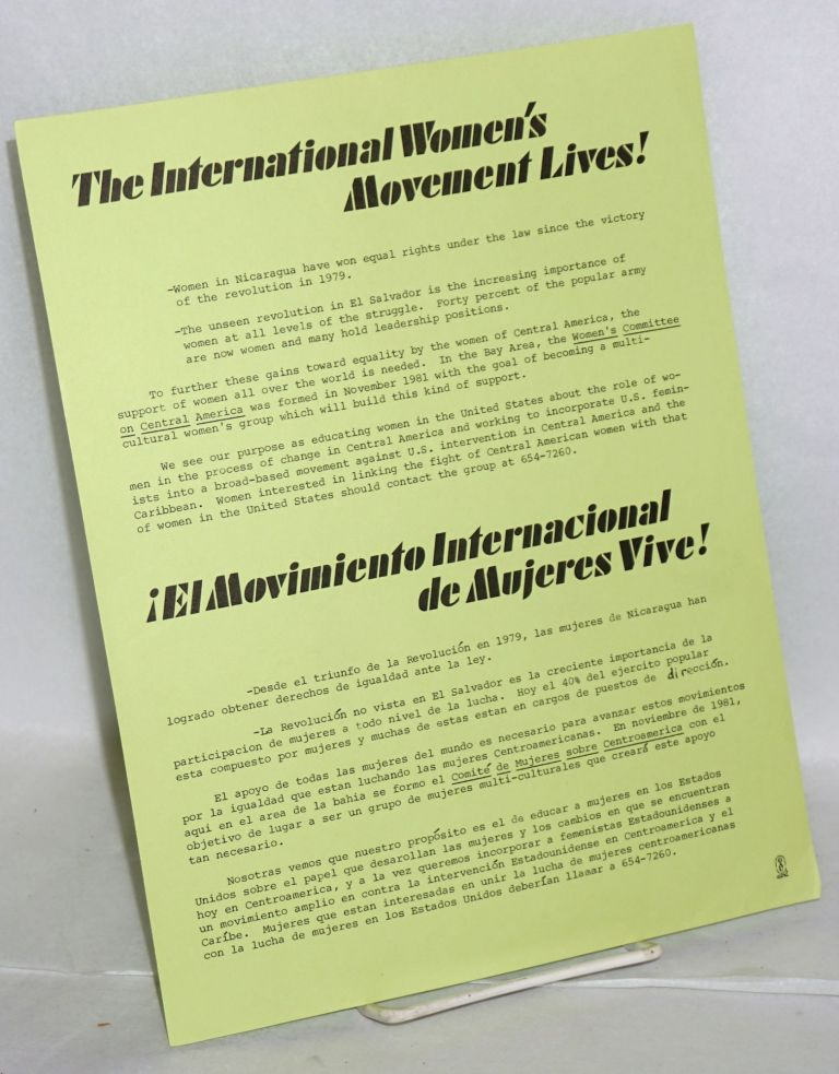 The International Women's Movement Lives! [handbill]. Women's Committee on Central America.