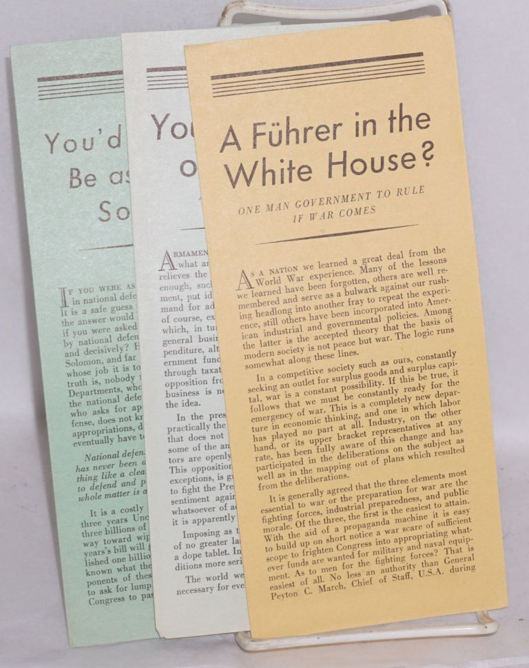 [Set of three pamphlets]. Labor Anti-War Council Keep America Out of War Congress, Youth Committee Against War.