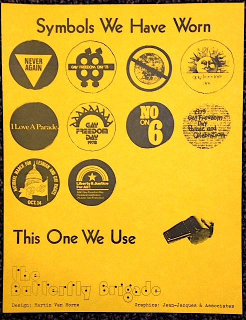 Symbols we have worn ... this one we use [handbill]. Martin Van Horne Butterfly Brigade, Jean-Jacques, design, graphics Associates.