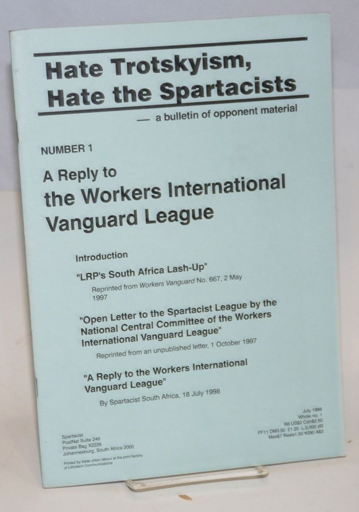 A reply to the Workers International Vanguard League. Spartacist League.