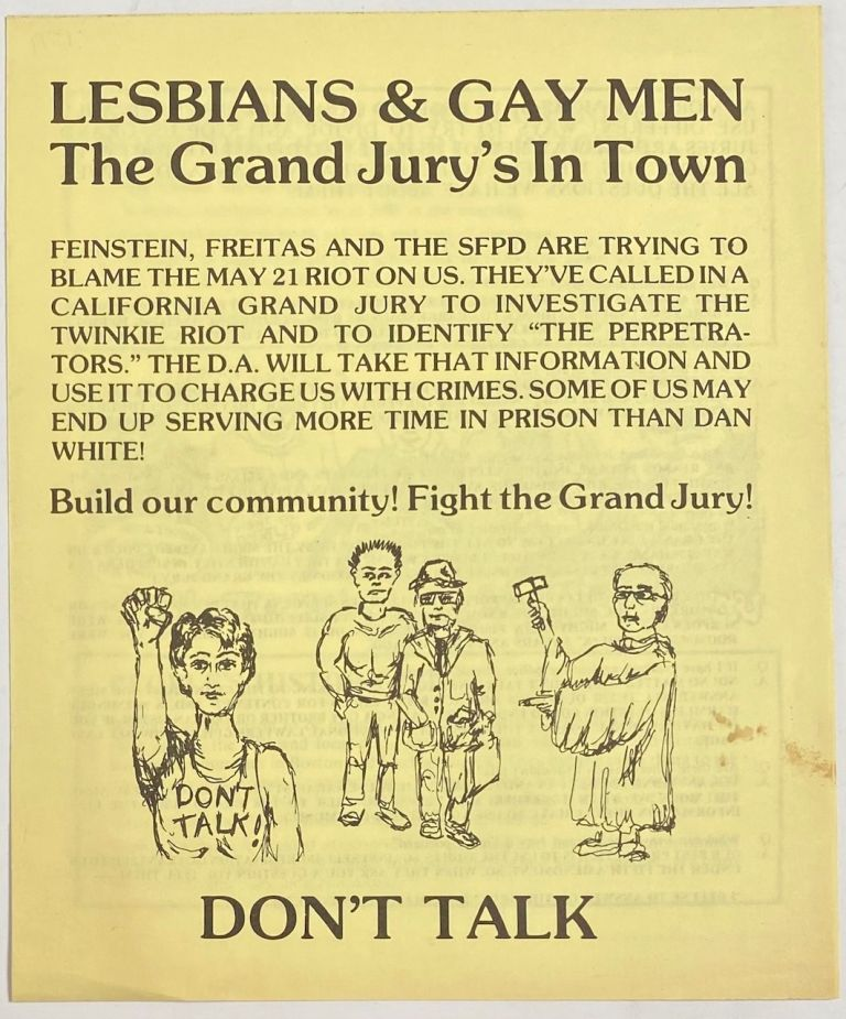 Lesbians & gay men; the Grand Jury's in Town... Don't talk. National Lawyer's Guild.