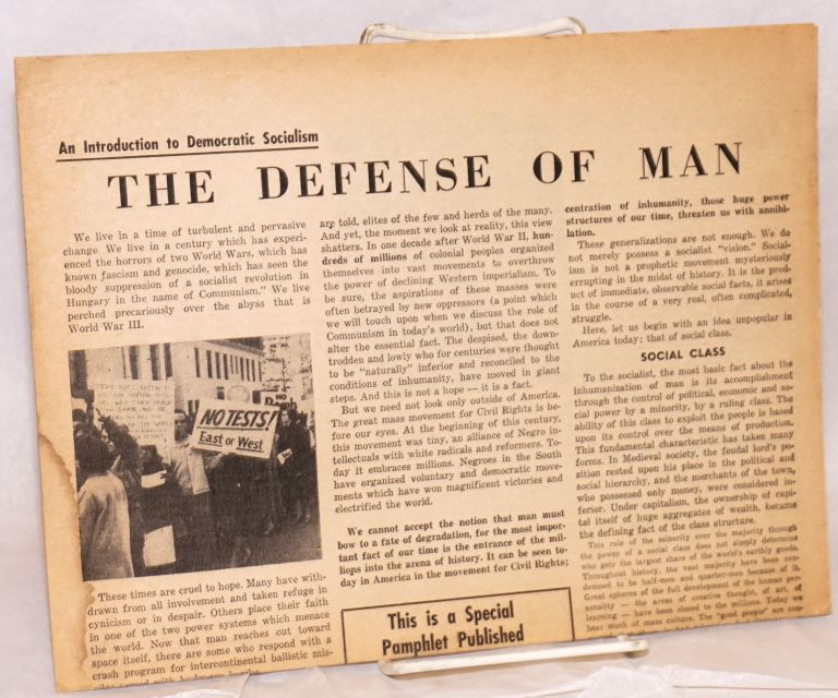 The defense of man: an introduction to Democratic Socialism. Young People's Socialist League.