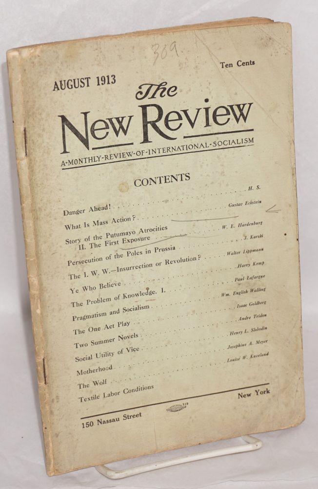 The New Review: a monthly review of international socialism. Vol. I no. 19 (August 1913). Alexander Fraser.