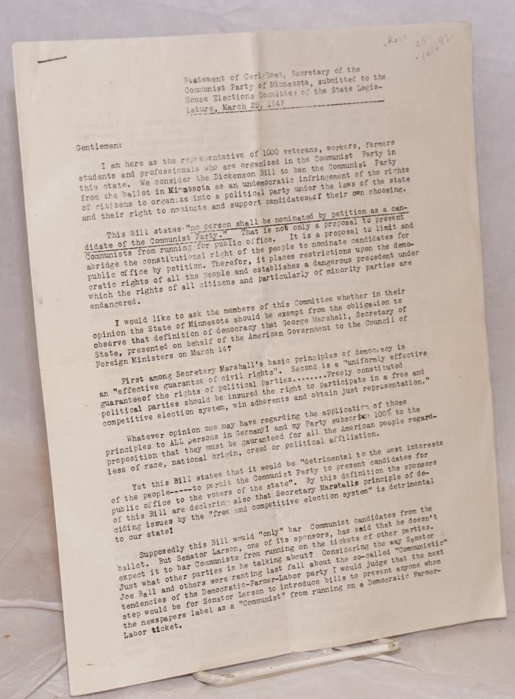 Statement of Carl Ross, Secretary of the Communist Party of Minnesota, submitted to the House Elections Committee of the State Legislature, March 25, 1947. Carl Ross.