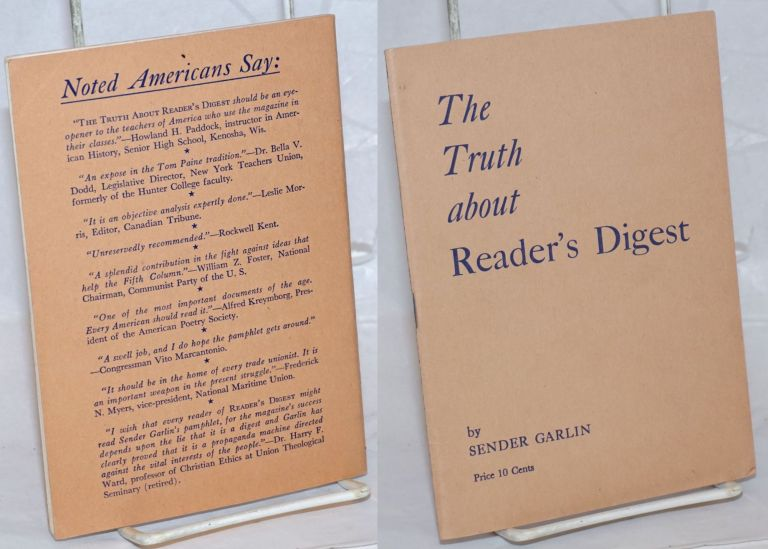 The truth about Reader's Digest. Sender Garlin, , Theodore Dreiser William Gropper, review.