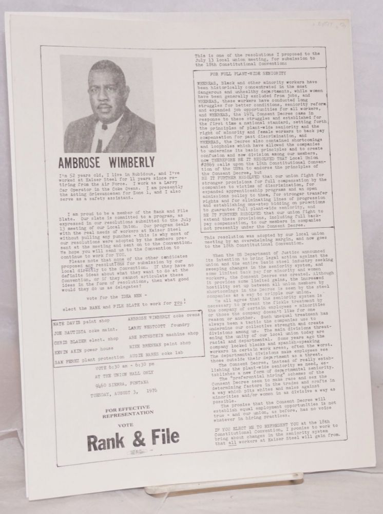 For effective representation, vote Rank and File [handbill]. Ambrose Wimberly.