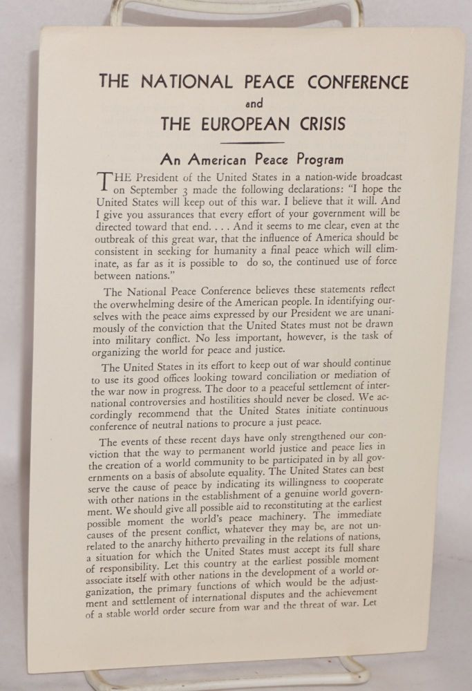 The National Peace Conference and the European crisis. An American peace program