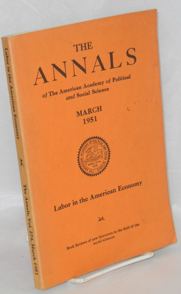 Labor in the American economy. Gordon S. Watkins, ed.